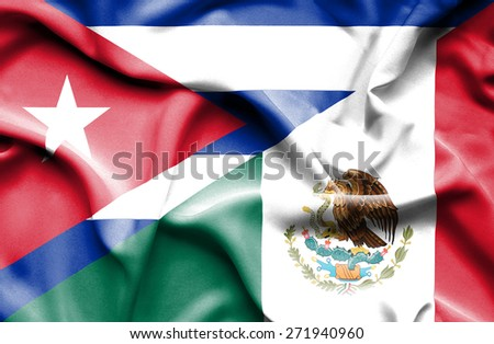 Waving flag of Mexico and Cuba - stock photo
