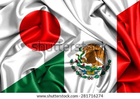 Waving flag of Mexico and Japan - stock photo