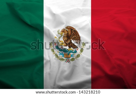 Waving flag of Mexico. Flag has real fabric texture. - stock photo