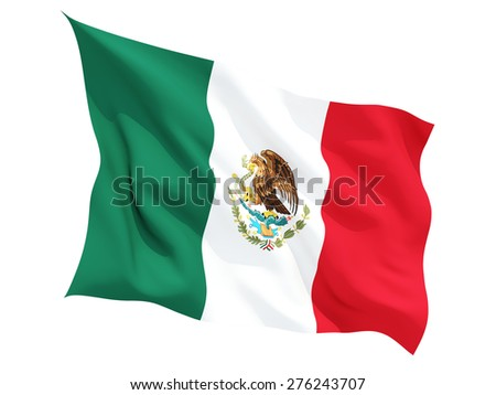 Waving flag of mexico isolated on white