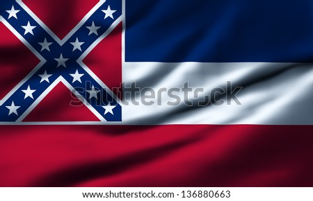 Waving flag of Mississippi. Design 1.