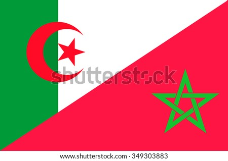 Waving flag of Morocco and Algeria