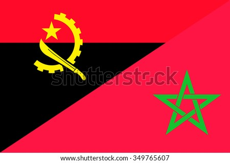 Waving flag of Morocco and Angola
