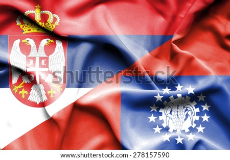 Waving flag of Myanmar and Serbia
