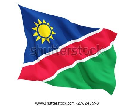 Waving flag of namibia isolated on white - stock photo