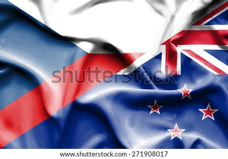 Waving flag of New Zealand and Czech Republic