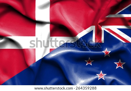 Waving flag of New Zealand and Denmark