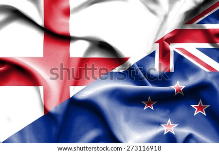 Waving flag of New Zealand and England