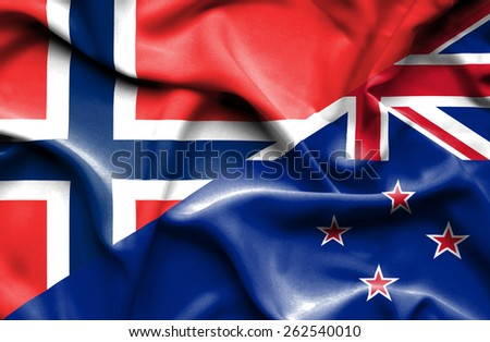 Waving flag of New Zealand and Norway