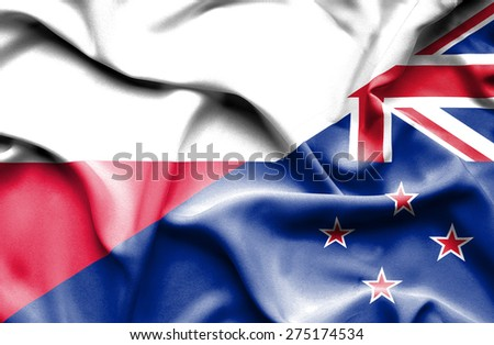 Waving flag of New Zealand and Poland
