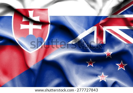 Waving flag of New Zealand and Slovak