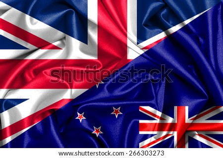 Waving flag of New Zealand and UK