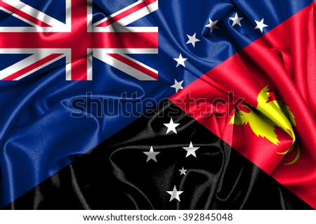 Waving flag of Papua New Guinea and Cook Islands