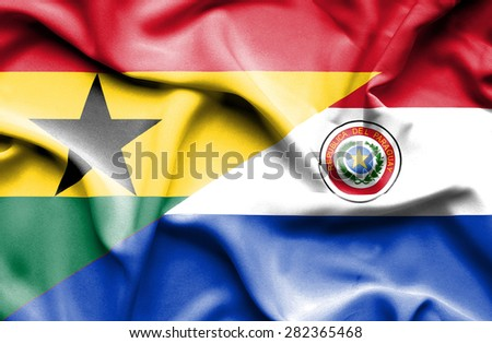 Waving flag of Paraguay and Ghana