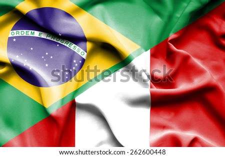 Waving flag of Peru and Brazil - stock photo