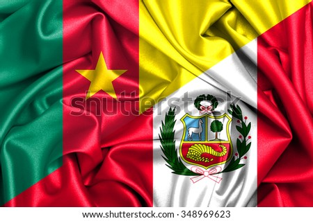 Waving flag of Peru and Cameroon