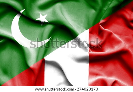 Waving flag of Peru and Pakistan