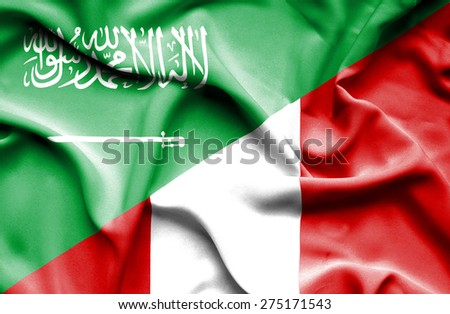 Waving flag of Peru and Saudi Arabia