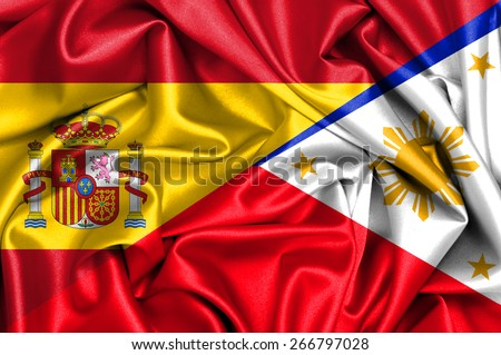 Waving flag of Philippines and Spain - stock photo