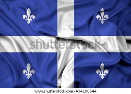 Waving Flag of Quebec - stock photo