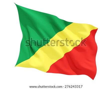 Waving flag of republic of the congo isolated on white