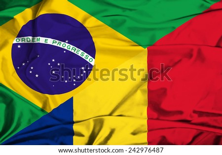Waving flag of Romania and Brazil