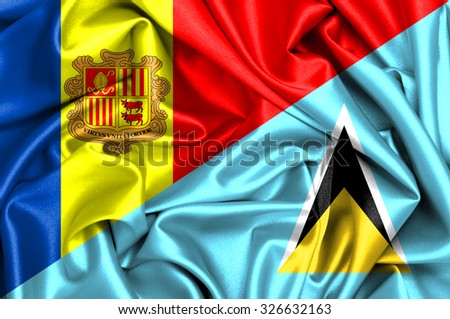 Waving flag of Saint Lucia and Andora