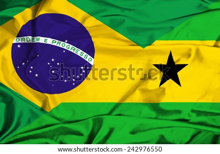 Waving flag of Sao Tome and Principe and Brazil