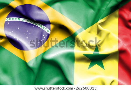 Waving flag of Senegal and Brazil