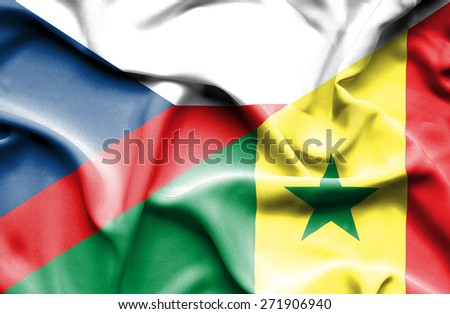 Waving flag of Senegal and Czech Republic