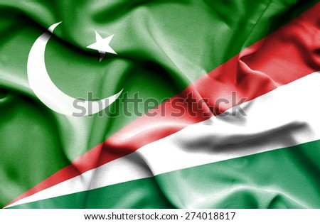 Waving flag of Seychelles and Pakistan