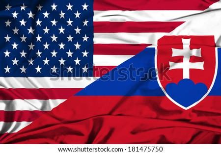 Waving Flag Slovakia USA Stock Photo (Royalty Free ...