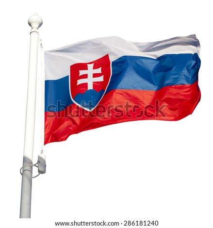 Waving flag of Slovakia isolated on white background with clipping path - stock photo