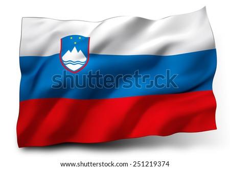 Waving flag of Slovenia isolated on white background - stock photo