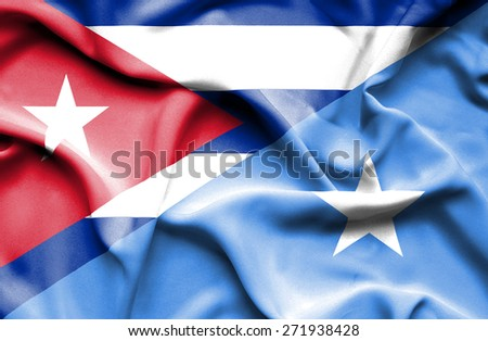 Waving flag of Somalia and Cuba