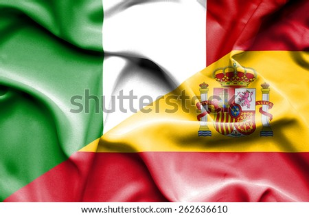 Waving flag of Spain and Italy - stock photo