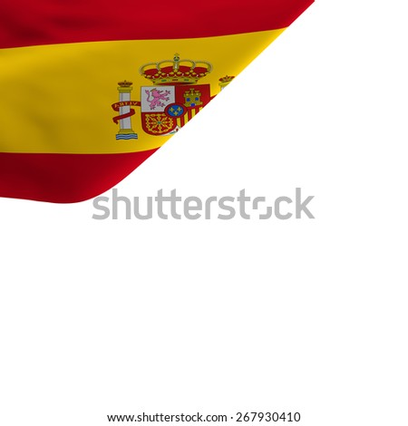Waving flag of Spain isolated on withe background - stock photo