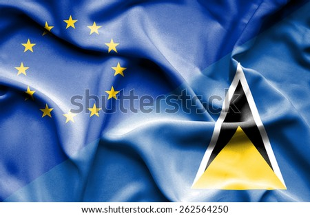 Waving flag of St Lucia and European Union