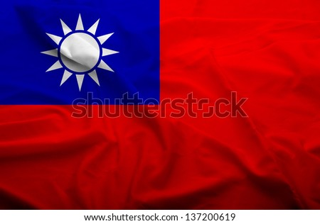 Waving flag of Taiwan. Flag has real fabric texture.