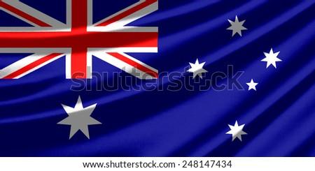 Waving flag of the Australia - stock photo