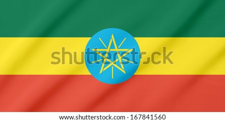 Waving flag of the Ethiopia