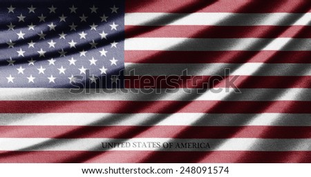 Waving flag of the United States of America - stock photo