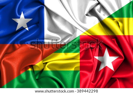 Waving flag of Togo and Chile