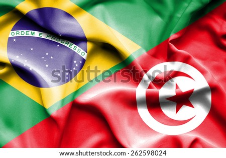 Waving flag of Tunisia and  Brazil