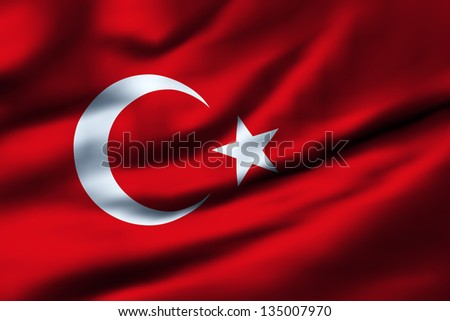 Waving flag of Turkey ...
