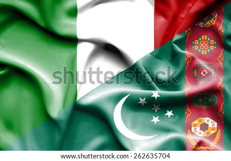 Waving flag of Turkmenistan and Italy