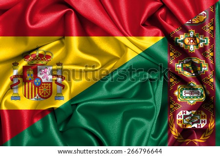 Waving flag of Turkmenistan and Spain - stock photo