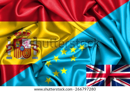 Waving flag of Tuvalu and Spain - stock photo