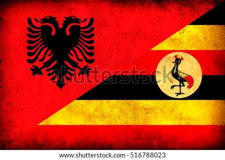 Waving flag of Uganda and Albania