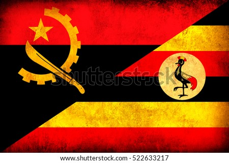 Waving flag of Uganda and Angola